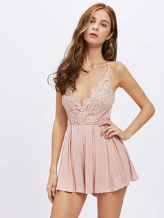 Scalloped Lace Bodice Wide Leg Cami Romper