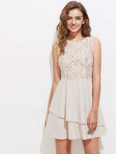Embroidered Mesh Bodice Zip Back Asymmetric Layered Dress