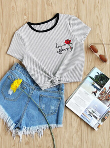 Contrast Neck Cap Sleeve Rose Embroidered Striped Tee