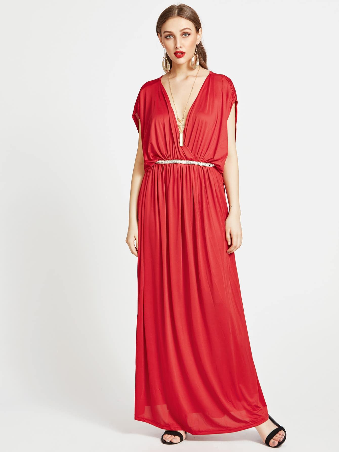Фото Plunging V-neckline Kaftan Dress With Beading. Купить с доставкой