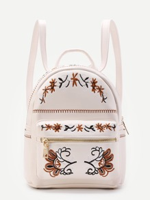 Calico Embroidery PU Backpack