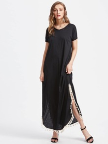 Tassel Trim Side Split Maxi Long Dress