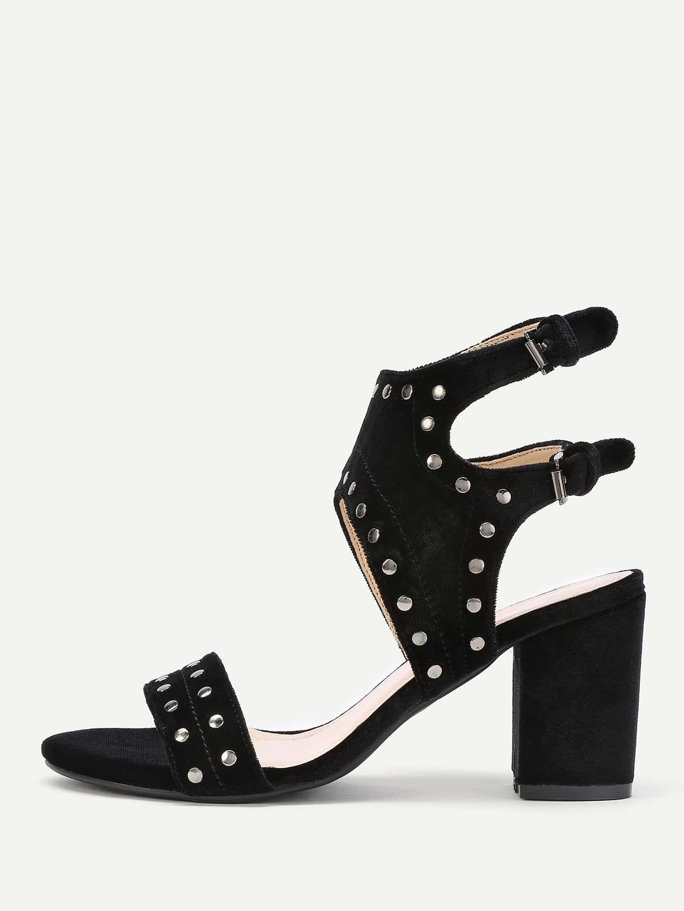 Фото Studded Detail Ankle Cuff Block Heeled Sandals. Купить с доставкой