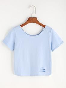 Blue Ripped Crop T-shirt