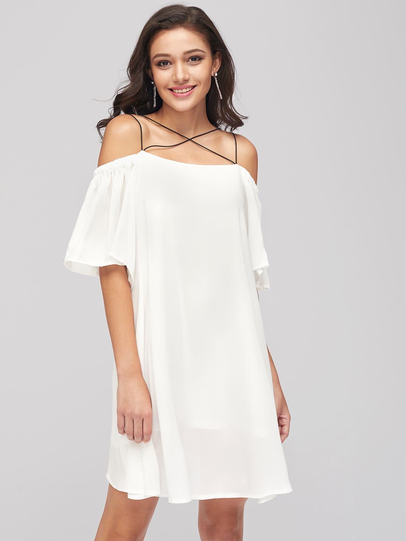 Фото Cold Shoulder Shift Dress. Купить с доставкой