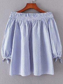 Vertical Striped Boat Neckline Tie Cuff Blouse