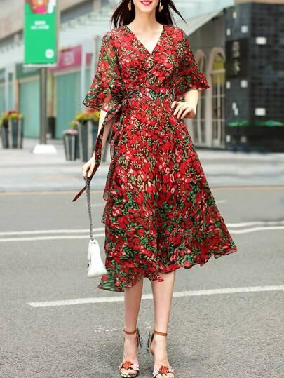 V Neck Bell Sleeve Floral Dress