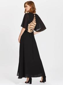 Tie Up Open Back Flutter Sleeve Slit Dress