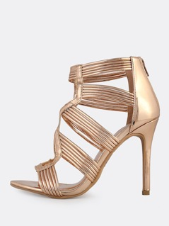 Patent Caged Cutout Heels ROSE GOLD