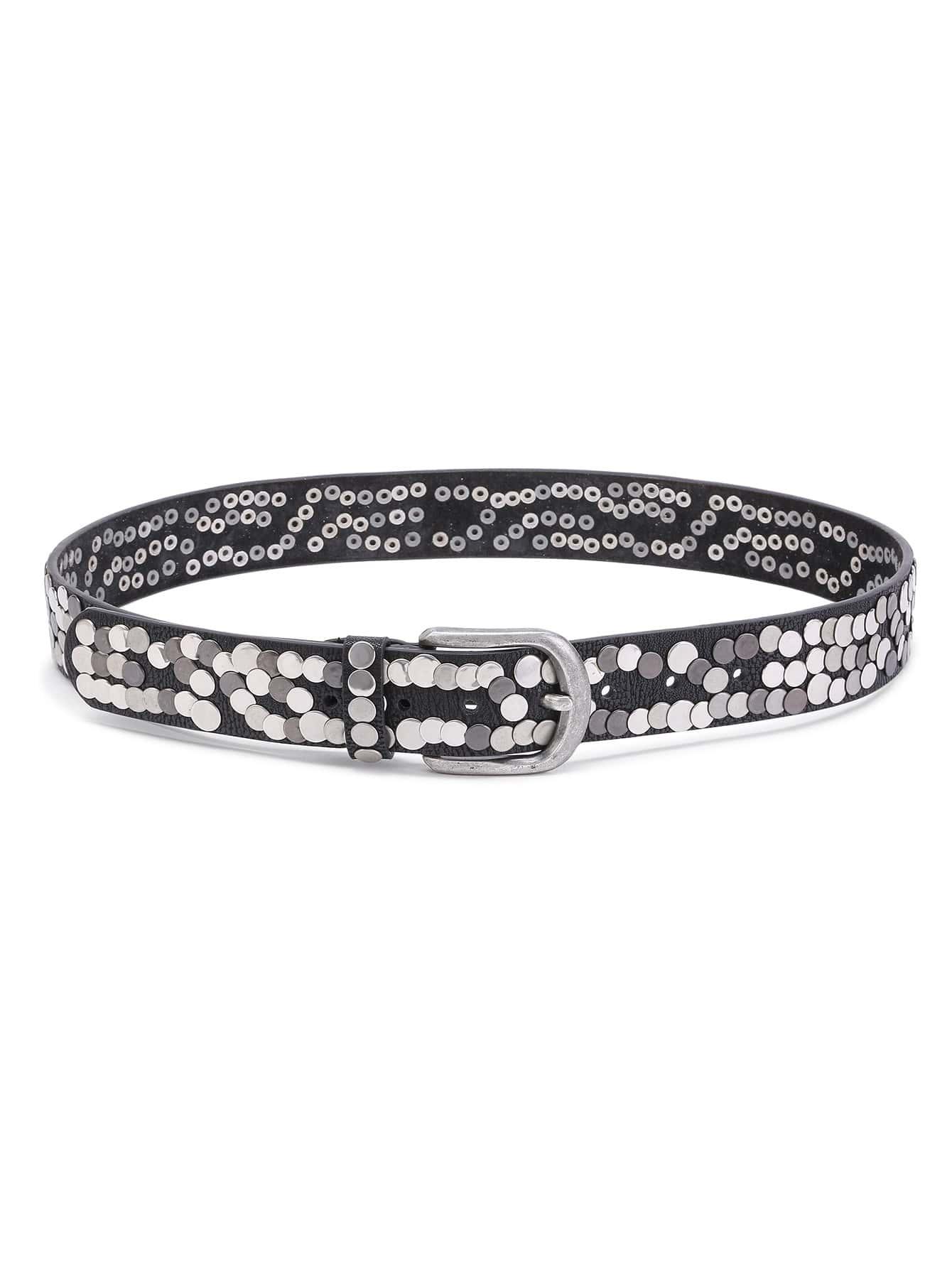 Фото Rivet Embellished Metal Buckle Belt. Купить с доставкой