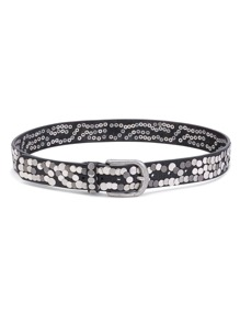 Rivet Embellished Metal Buckle Belt