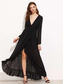 Frill Trim Surplice Wrap Dress