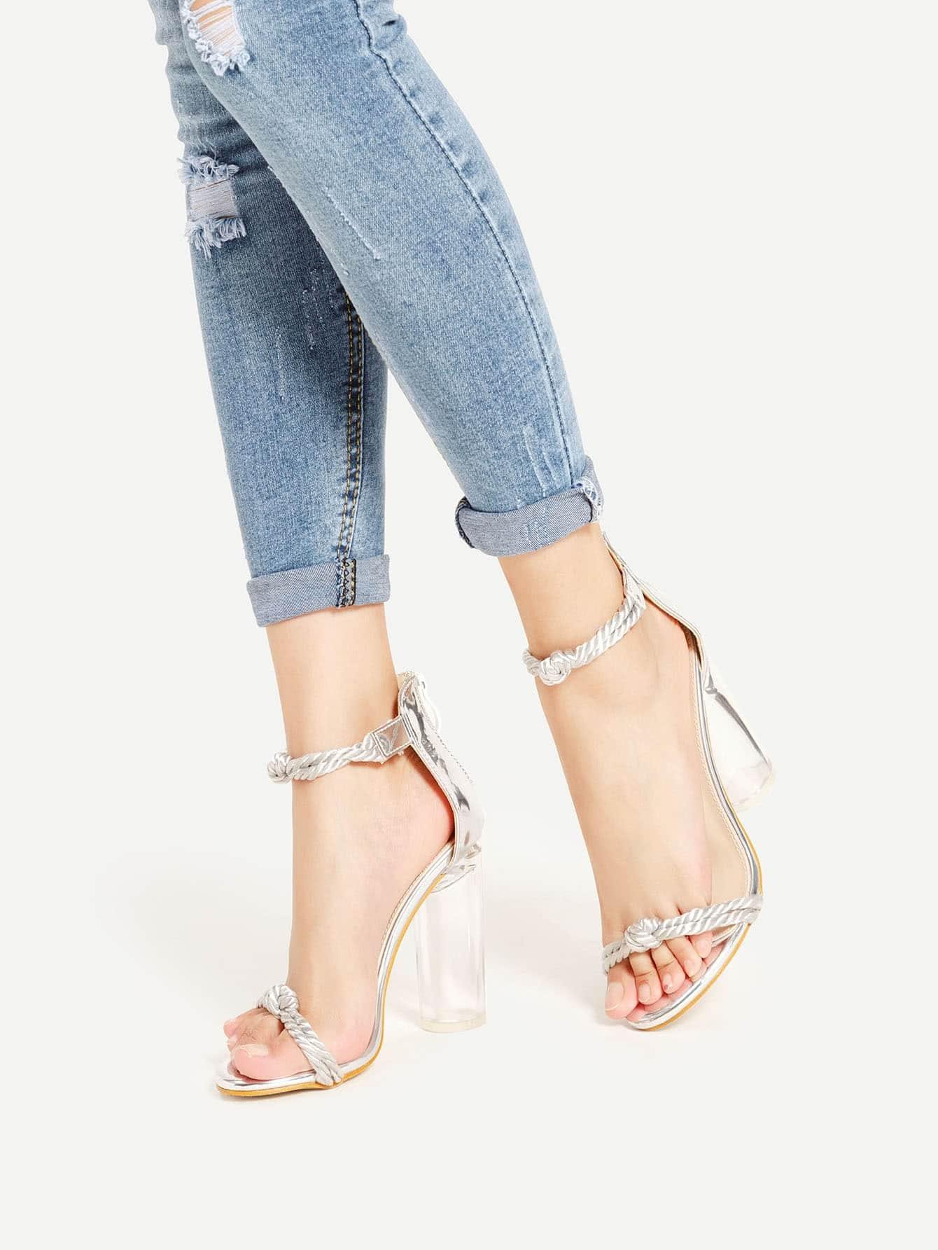 Фото Braided Strap Metallic PU Block Heeled Sandals. Купить с доставкой