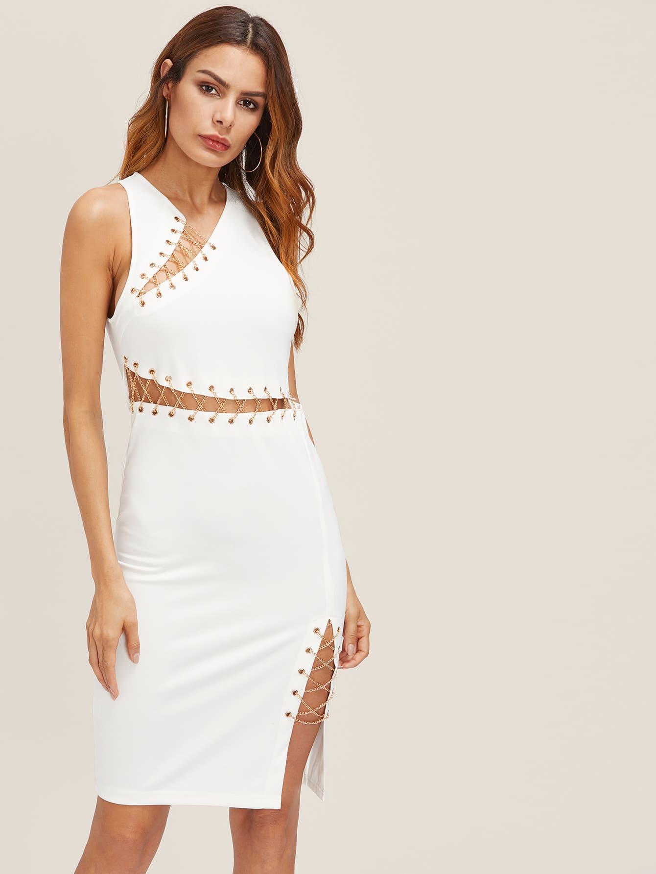 Фото Lace Up Grommet Peekaboo Dress. Купить с доставкой
