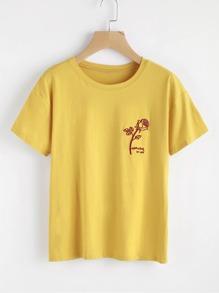 Tee-shirt brodé des roses et lettres
