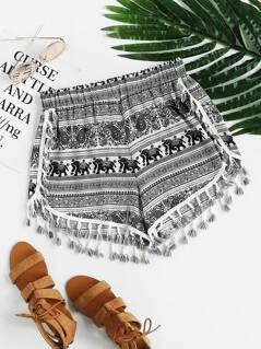 Tribal Print Tassel Trim Dolphin Shorts