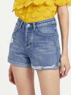 5 Pocket Cuffed Ribbed Denim Shorts
