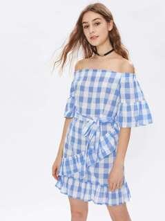 Bardot Tie Waist Grid Ruffle Trim Dress