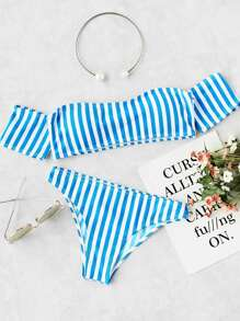 Vertical Striped Off The Shoulder Bikini Set