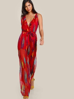 Ruffle Hem Sleeveless Sheer Jumpsuit RED