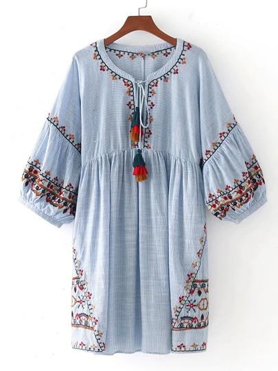 Tasseled Tie Lantern Sleeve Embroidered Smock Dress