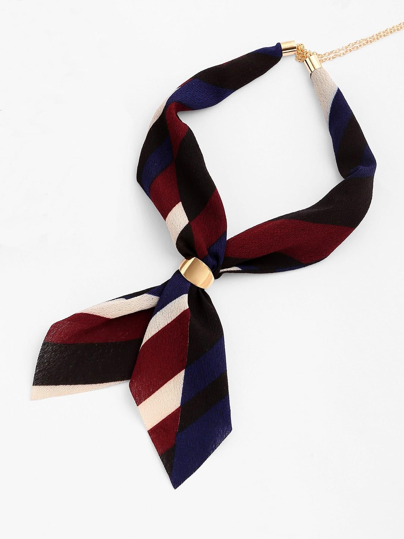 Фото Striped Print Neckerchief With Chain. Купить с доставкой