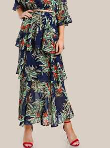 Zip Back Tiered Flounce Tropical Skirt