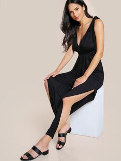 Halter Split Hem Buckle Jumpsuit BLACK