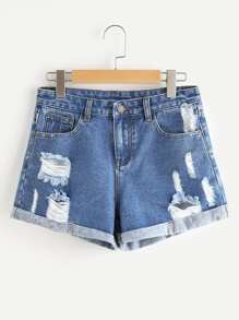 Cuffed Ripped Denim Shorts