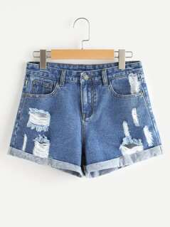Cuffed Ripped Denim Shorts