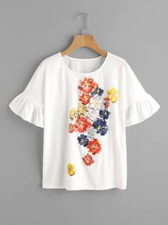 Trumpet Sleeve Flower Print T-shirt
