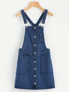 Patch Pocket Button Front Denim Overall Dress