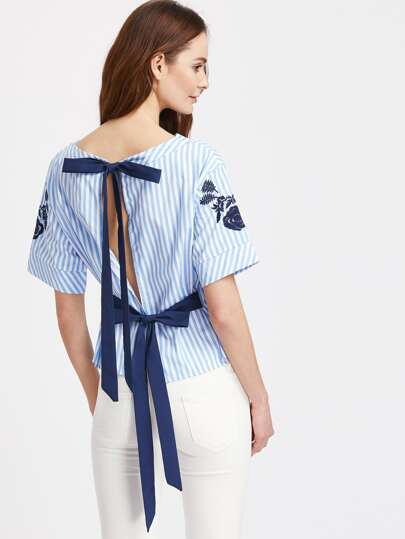 Embroidery Split Back Bow Tie Detail Striped Top