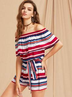Flounce Bardot Neck Self Tie Striped Playsuit