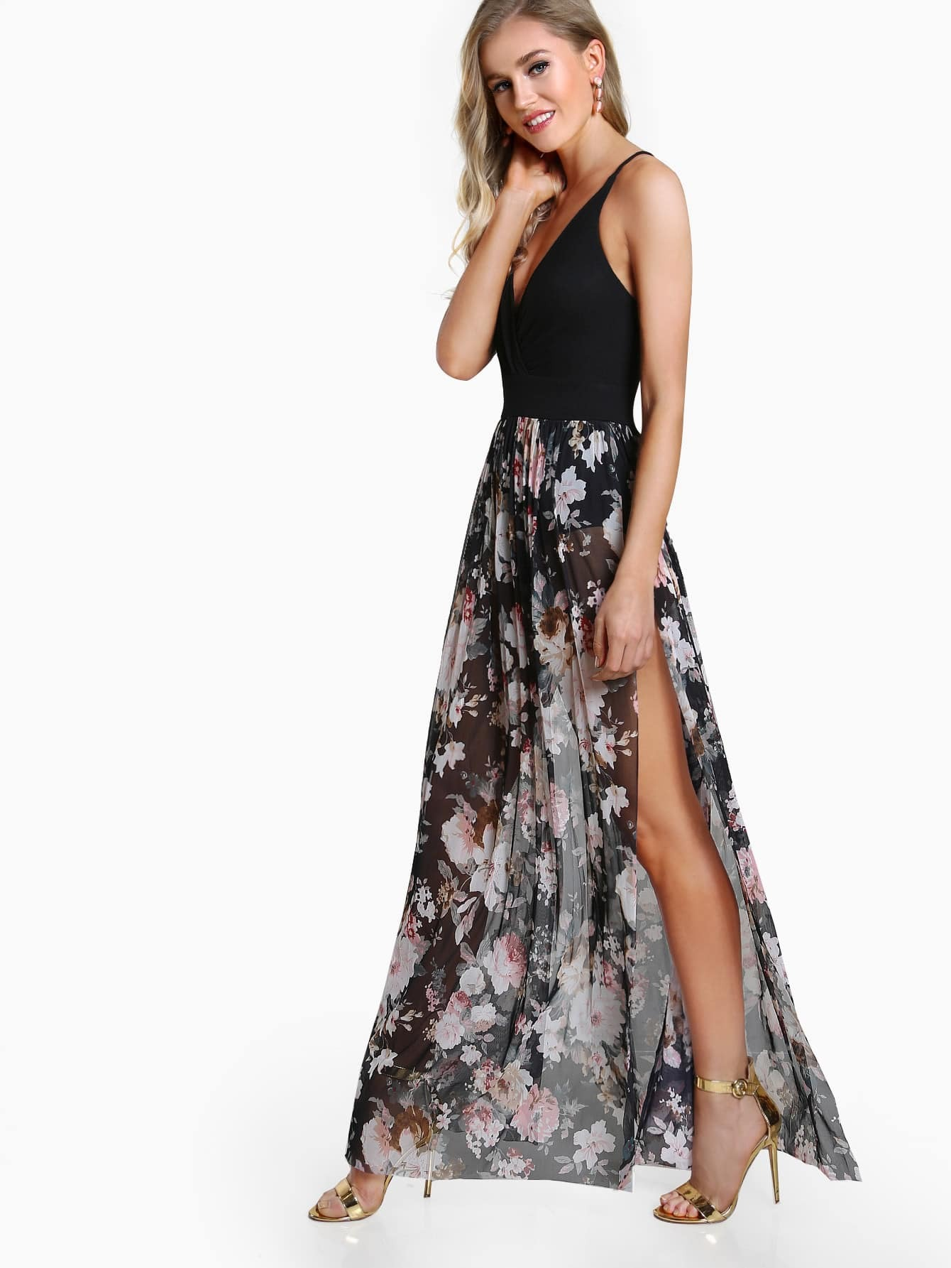 Фото Surplice Strappy Back Bodysuit Mesh Dress. Купить с доставкой