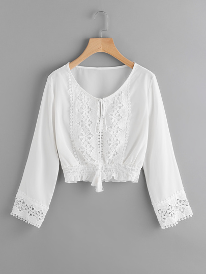 Lace Panel Self Tie Shirred Hem Top