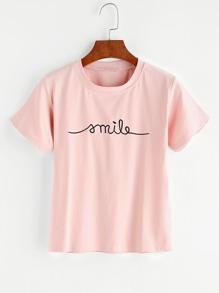 Camiseta bordada de letras