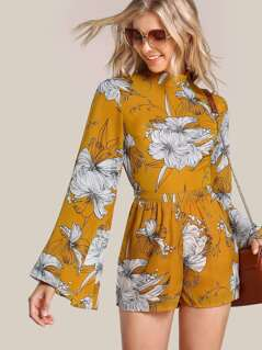 Sheer Floral Print Romper MUSTARD