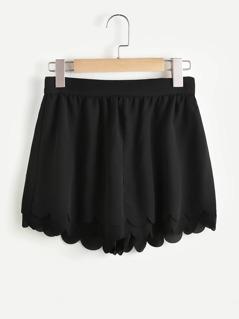 Scallop Hem Zip Back Layered Wide Leg Shorts