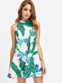 Buttoned Keyhole Halter Neck Swing Tropical Dress