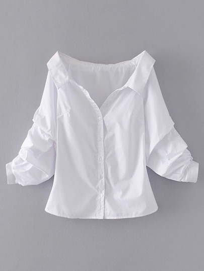 Off Shoulder Single Breasted Blouse