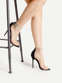 Sandalias de tacón alto con detalle de ojales