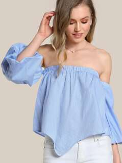 Bubble Sleeve Off Shoulder Top BLUE
