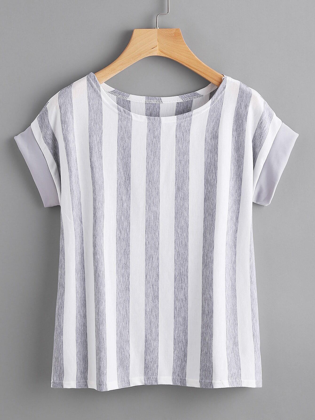 Contrast Vertical Striped T-shirt -SheIn(Sheinside)