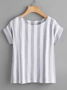 Contrast Vertical Striped T-shirt