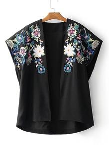 Open Front Flower Embroidery Kimono