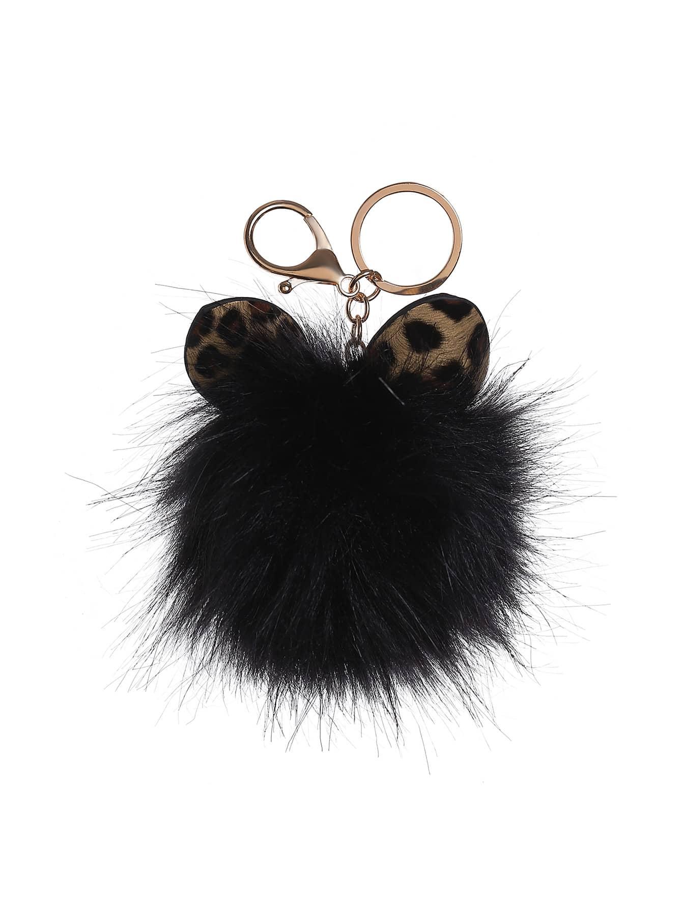 Фото Cat Ear Detail Keychain With Pom Pom. Купить с доставкой