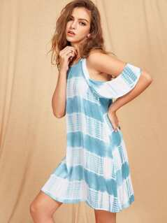 Frill Cold Shoulder Keyhole Back Tie Dye Dress