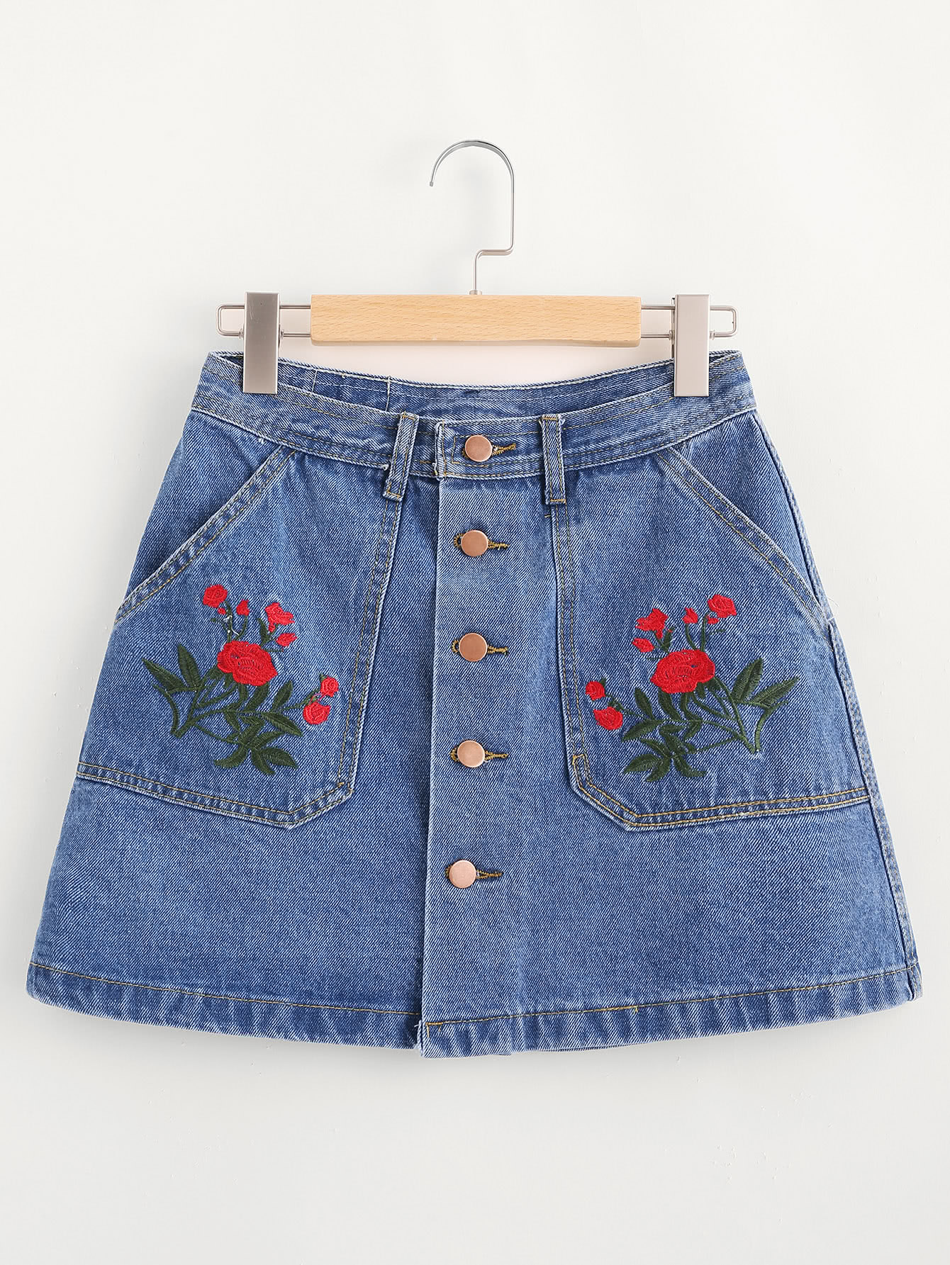 Floral Embroidered Single Breasted A Line Denim Skirt floral embroidered corduroy a line skirt