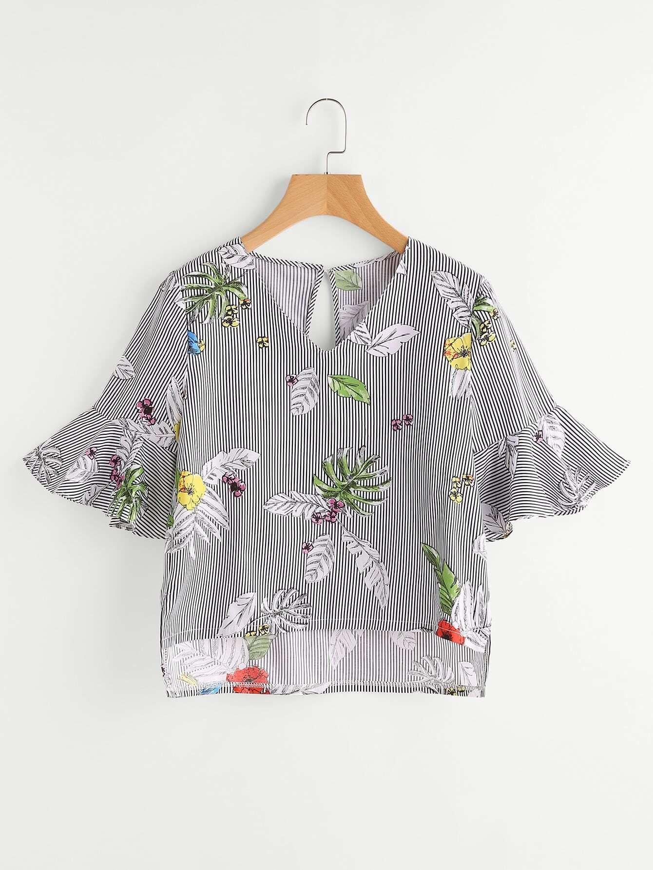 Random Print Keyhole Back Slit Side Striped Blouse blouse170628004